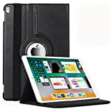 Aavjo, 360° Degree Swivel Rotating Multi Angle Stand PU Leather Screen Protective Smart Book Folio Flip Carry Back Case Cover For Apple IPad 9.7 Inch (2017 & 2018 Released ) ( Model : A1822 A1823 A1893 A1954 ) (Black)