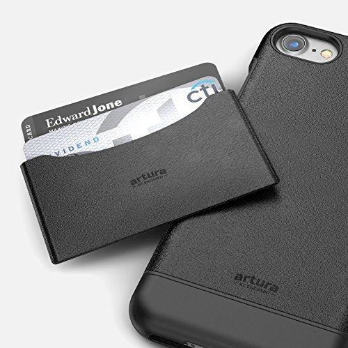 "iPhone 7 Plus (5.5"") Premium Vegan Leather Case - Artura Collection By Encased (Jet Black) Jet Black"