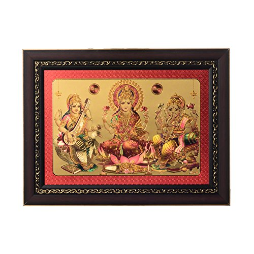 eCraftIndia Laxmi Ganesh Saraswati Framed Synthetic Wood Laminated Golden Foil (38.1 cm x 1.3 cm x 28 cm)