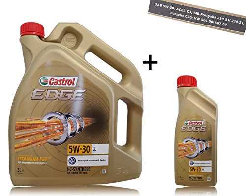 1 L + 5 L = 6 Liter Castrol Edge Titanium FST 5W-30 LL Motor-Öl; Freigaben: ACEA C3; MB-Freigabe...