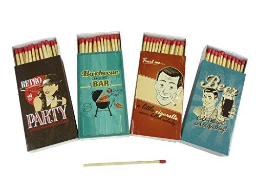 4 x 48er Packungen Streichholzschachteln, 10cm, mit Vintage / Retro / Kult Design Streichhölzer, Streichholz Schachtel