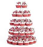 Alzata per Cupcake, Chiaro Acrilico Partito Stoviglie Torta Rotondo Stand Centrotavola per la Festa Nuziale Baby Shower Compleanno (4 livelli)