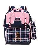 Rieovo Schulranzen Mädchen 1 Klasse Schulrucksack Schultasche für Grundschule Rosa