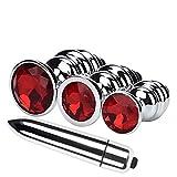Sex Toys4 Anale Plug Set,4 Pezzi A Forma di Base Rotonda con Gioielli Nascita Plugs Anale Mini Salto Uova Giocattolo Allenatore (Rosso)