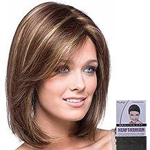 L-Peach 35cm Peluca Recta Marrón Pelo Natural Cabello para Mujer