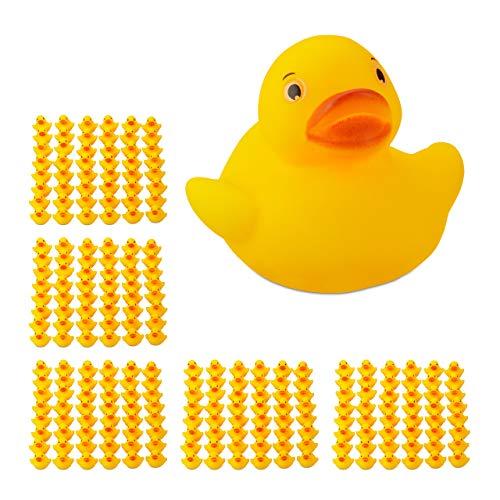 Relaxdays 240 x Badeente 3,5 cm, klassisches Quietscheentchen für die Badewanne, Badespielzeug für Groß und Klein, Gummiente , gelb - Gelbe Badewanne Ente