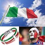 cupimatch Herren Frauen Italien Flagge italienische Banner Manschette Armreif Armband Leder geflochten, rot weiß grün, 21,1cm - 2