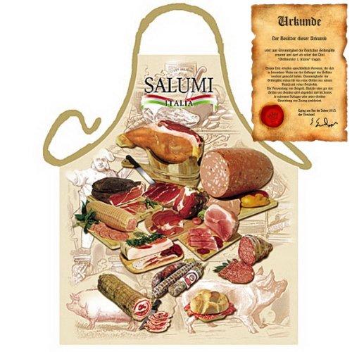 Grillschürze mit Urkunde - Italienische Salami - Lustige Motiv Schürze als Geschenk für Grill Fans mit Humor - NEU mit gratis Zertifikat