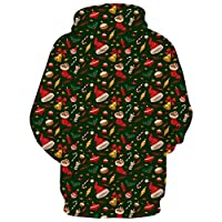 Belovecol Mens Women Casual Pockets Hoodie Large Fashion Funny Cool Christmas Pullover Sweatshirts Costumes Large