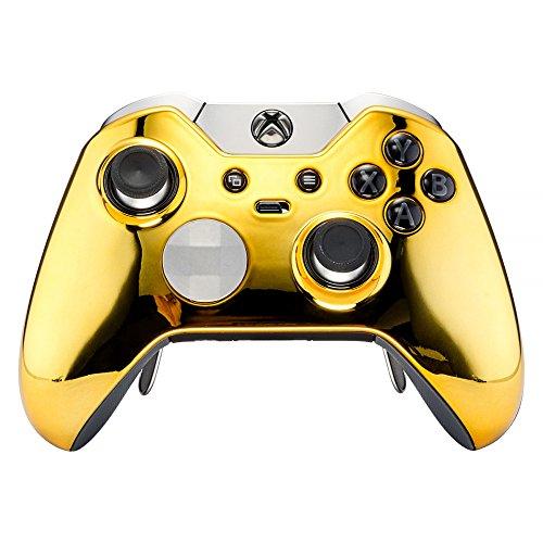 eXtremeRate Vorderseite Gehäuse Case Obere Hülle Schale mit Thumbstick-Akzent-Ringen für Xbox One Elite-Chrome Gold Faceplate Ring