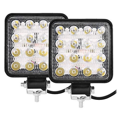 2 Pezzi Fari 48W Quadrato Faretto LED da Lavoro 16LED Profondità Auto Barcaper Autoveicoli Fuoristrada Barche Trattori Camion Veicoli Indust