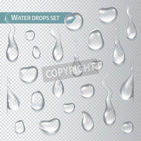 "Alu-Dibond-Bild 70 x 70 cm: ""Droplets of water on a transparent background. Vector illustration"", Bild auf Alu-Dibond"