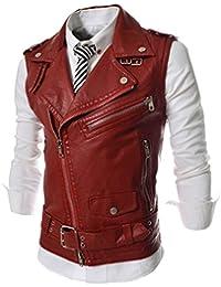 qinying Hombres Slim Fit oblicuo cremallera piel sintética chaqueta de Moto  chaleco 99a4a849111ce