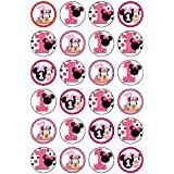24 x 1er anniversaire Minnie Mouse comestible Cupcake Caketoppers