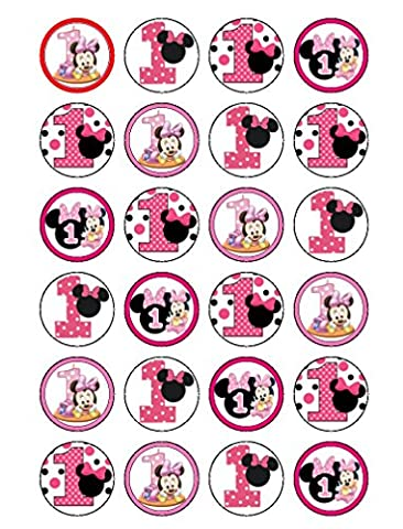 24x 1er anniversaire Minnie Mouse comestible Cupcake Caketoppers