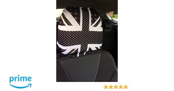 CAR SEAT HEAD REST COVERS 2 PACK BLACK WHITE UNION JACK PATTERNED DESIGN MADE IN YORKSHIRE Amazoncouk Kitchen Home