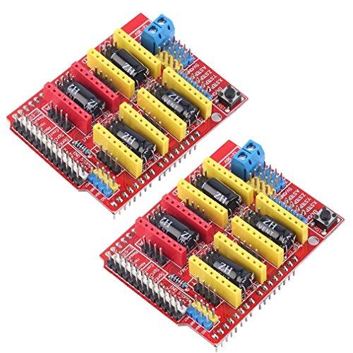 HiLetgo 2x CNC Erweiterungsplatinen, V3Engraver Shield 3D-Drucker CNC Expansion Board A4988Treiberplatine für Arduino (Arduino Mega 2560 V3)