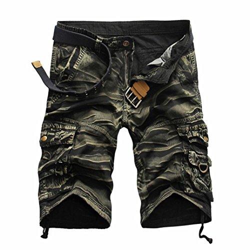 Herren Männer Casual Pocket Strand Arbeit lässig Kurze Hosen Shorts Hosen (Yellow, 32)