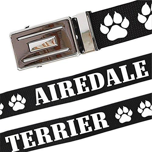 Spaß kostet Gürtel mit Spruch Airedale Terrier stufenlos verstellbar bis 140 cm Lang -