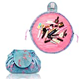 Lazy Drawstring Make up Bag Portable Large Travel Cosmetic Bag Pouch Travel Makeup Pouch Storage Organiser for Women Girl (Flamingo)