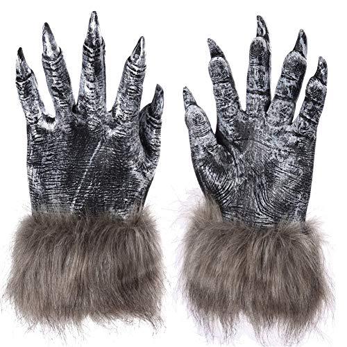 Macht Ein Kostüm Furry - Halloween Werwolf Handschuhe für Unisex Erwachsene, gruselig gruselig Furry Wolf Klauen Handschuhe Kostüm für Cosplay Fancy Dress Praty Masquerade 1 Paar