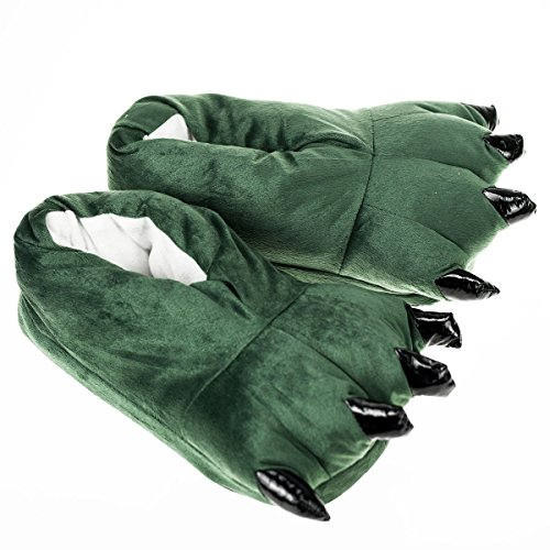 Zapatillas de Garra, Unicornio Unicorn Peluche – Zapatos de pantuflas – divertido puschen Slipper (M:EUR(36-40), verde)