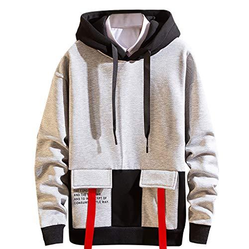 SANFASHION Herren Kapuzensweatshirt Hoody mit 2 Taschen Schwarz Grau Khaki M-XXXL