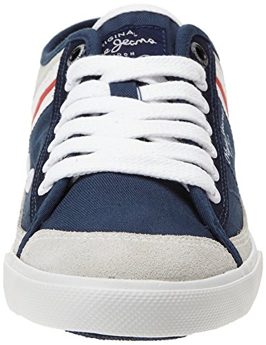 Pepe Jeans London - Tenis Poinçonnage, Sneaker Basse Uomo Blu (blau (585marine))