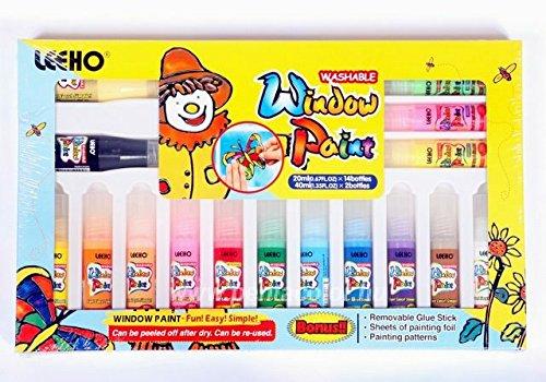 fenstermalfarben Zita's Creative Fensterfarben Set 14x20ml + 2x40ml Konturfarben, inklusive Zubehör, Window Color Set, Fenstermalfarben Set