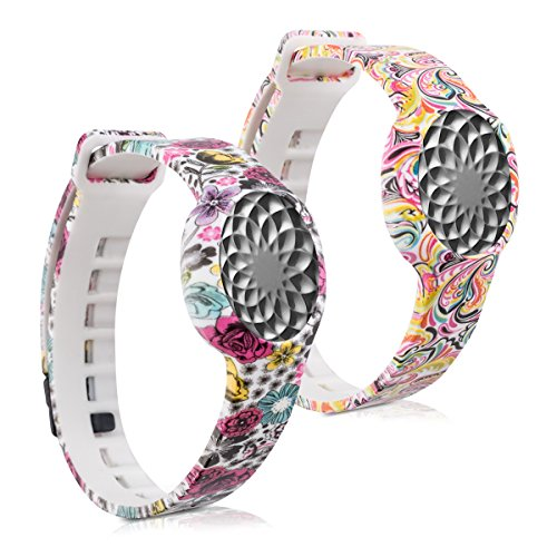 kwmobile-2in1-set-2x-sport-spare-bracelet-for-jawbone-up-move-in-flowers-dots-multicolor-dark-pink-w
