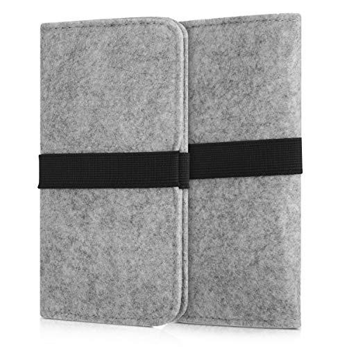 kwmobile Filz Tasche für Smartphones - mit Gummiband - Handy Filztasche Schutztasche in Hellgrau - 16 x 8,0 cm Innenmaße -