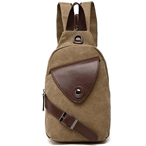Gendi Herren Damen Vintage Leinwand Leder Brust Tasche Pack Sling Rucksack Wandern Bag Khaki