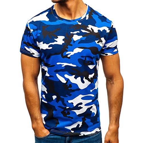 REALIKE Herren T-Shirt Kurzarmshirt Super Mode mit Rundhalsausschnitt Unterhemden Tops Tarnmuster Farbe Muskelshirt Fitness Oberteile Basic für Männer bis Größe S-2XL