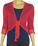 LADIES PLAIN KNITTED CROPPED TIE UP BOLERO SHRUG TOP - MASSIVE RANGE OF COLOURS FIT ALL SIZES (Dark Coral)