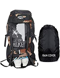 POLE STAR XPLORE 55 ltrs with Rain Cover Rucksack/Hiking/Trekking Backpack Bag 55 ltrs (camo Black)