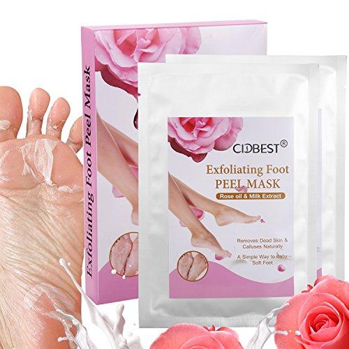 Fuß Peeling Maske, Fußmaske, Fußpeeling Maske, Peeling Socken, Exfoliating Foot Peel Mask, Entfernt abgestorbene Haut und Schwielen natürlich mit Roseextrakt Milchextrakt - 2 Paar Peeling Socken