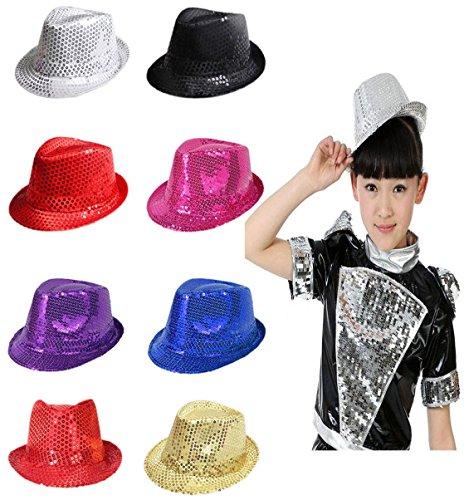 Islander Fashions Unisexe Paillettes Paillettes Fedora Trilby Chapeau Adulte Jazz Chapeau Gangster Party Costume Chapeau Une Taille