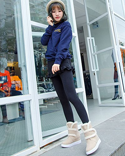 Minetom Damen Herbst Winterstiefel Warm Gefüttert Boots Klettband Nubukleder Outdoor Schneestiefel Beige