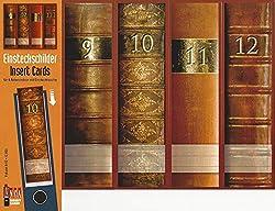 4 Einsteckschilder Ordnerrücken Lexikon Bücher 9-12 Einsteck Ordner Deko Ic03