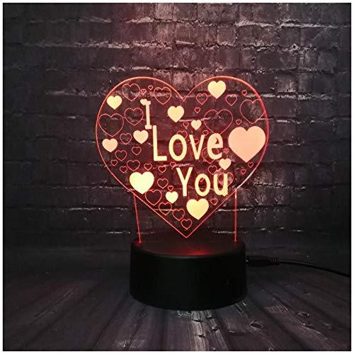 3D-Nachtlicht, Valentinstag, Geschenk Nachtlicht, romantische Beratung, ich liebe dich, liebe 3D-LED-Leuchten, Atmosphäre bunten Taschenlampen