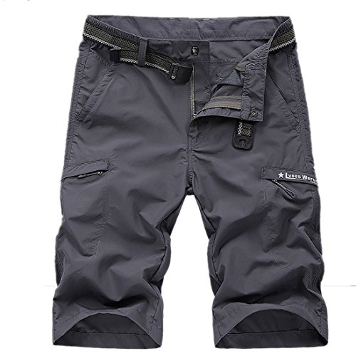 Mens Outdoor Fast Dry Casual Trousers Shorts with Multiple Pockets Easy Wash Hiking Cargo Shorts
