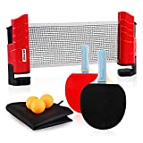 XGEAR Set da Ping Pong Professionale con Borsa per Il Trasporto Portatile - 1 Rete da Pingpong Regola + 2 Racchette a Doppia Faccia + 3 Palline per Allenatori, Amatori, Principianti, Esperti, Rosso