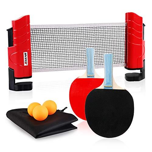 XGEAR Set de Ping Pong Juego de Tenis de Mesa 3 Pelotas de Ping Pong 2 Raquetas 1 Red Retráctil 1 Bolsa para Todas Las Edades