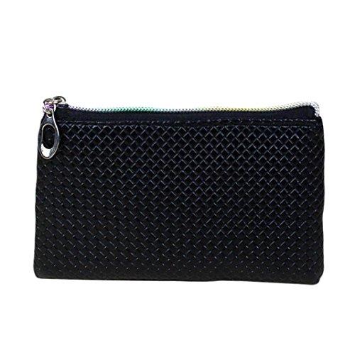 Hunpta Frauen Mode Leder Brieftasche Reißverschluss Clutch Geldbörse Lady Long Handtasche Tasche Schwarz