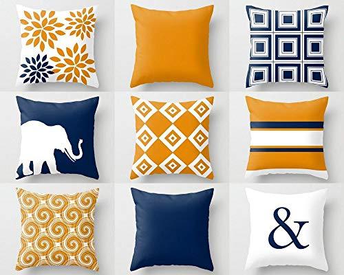 Se556th Fundas de Almohada Azul Marino Naranja cojín cojín Azul Naranja decoración del hogar salón Almohada Elefante decoración geométrica Almohada