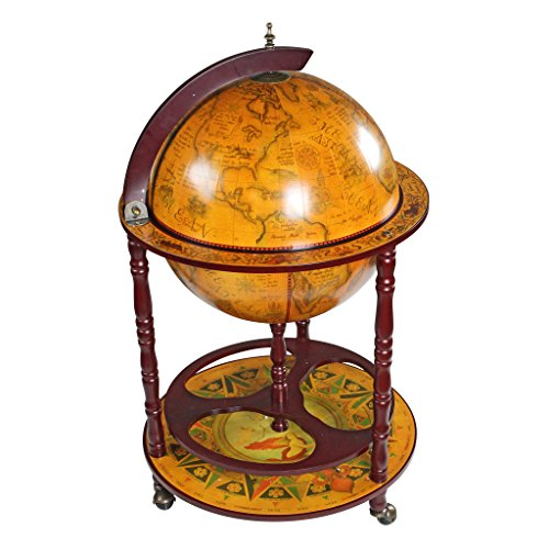 Design Toscano Replika einer italienischen Globusbar aus dem sechzehnten Jahrhundert, Maße: 56 x 56 x 98 cm 9.5 kg