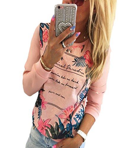 WanYang Donna Girocollo Manica Lunga Casual T-shirt Casual Maglietta Stampata Bluse Rosa