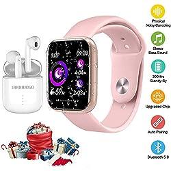 K8 Smart Sports Watch e cuffie wireless, Motion Tracker, registrazione di dati sportivi, musica durante l'allenamento, connessione Bluetooth 5.0 (rosa)