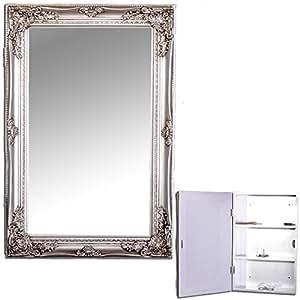 spiegelschrank beatrice 60x40cm silber badezimmer schrank badschrank landhaus k che. Black Bedroom Furniture Sets. Home Design Ideas