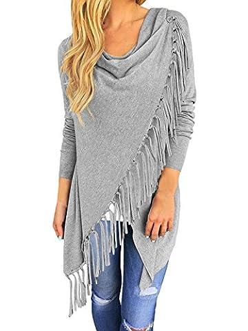 ISASSY Women's Long Sleeve Casual Asymmetric Tassels Batwing Loose tops Fringe Jumper Cardigan Pullover Sweater Shawl Coat Outwear Cardigan, 14-16 /